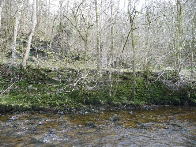 Ruined buildings beside the Afon Nedd Fechan at Cwm Gored