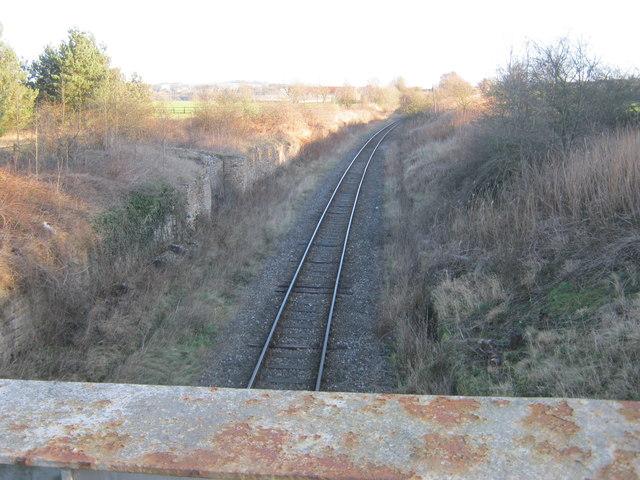 Track for the Weardale Railway to the east of Escomb railway bridge