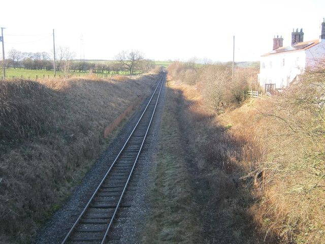 Track for the Weardale Railway to the west of Escomb railway bridge
