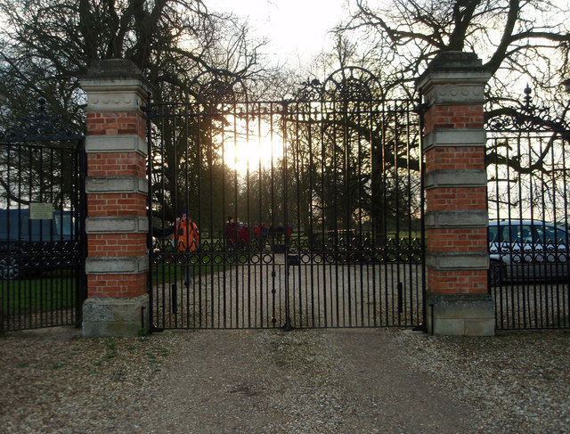 Lodge gates at sunset