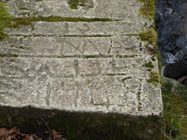 Inscription on concrete footbridge on the Nant-y-carad