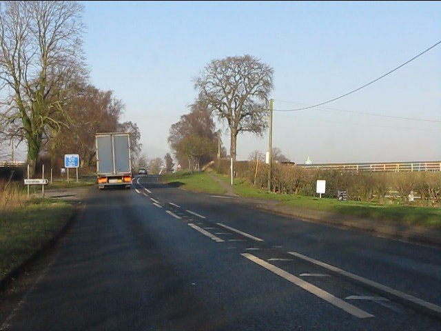 A49 at the junction with Bunbury Common