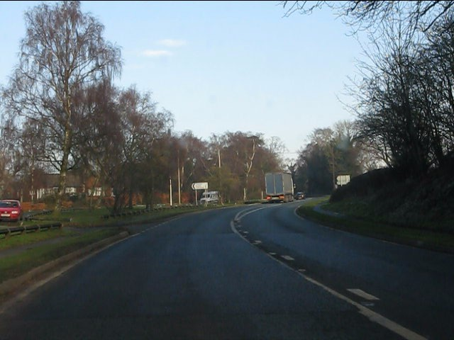 A49 approaching Huxley Lane, Tiverton