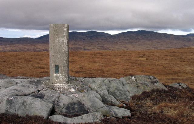 Trig point on Beinn Sgaillinish