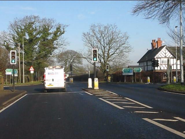Sandybrow traffic lights, A49/A54 crossroads