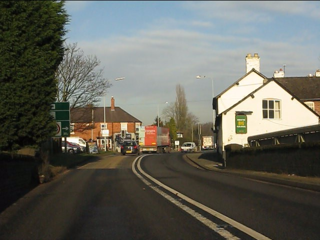 Cuddington crossroads from the A49 railway bridge