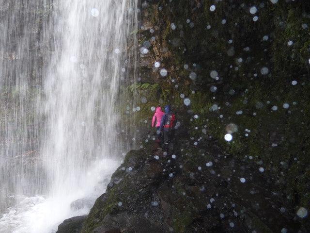 Spume behind Sgwd yr Eira waterfall