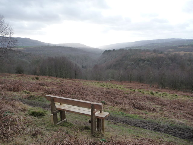 View over Afon Mellte valley near Craig y Dinas