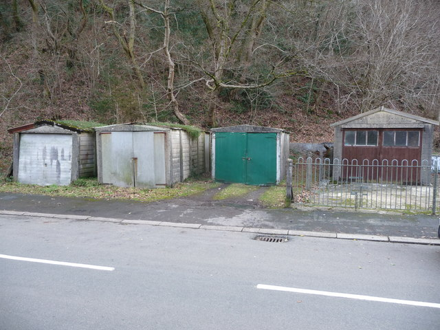Row of old garages in Pontneddfechan