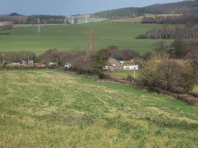 Duckaller Farm seen from the road along the ridge