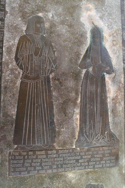Brass to Sir John Reade & wife, Wrangle church