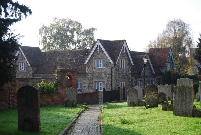 Almshouses and churchyard
