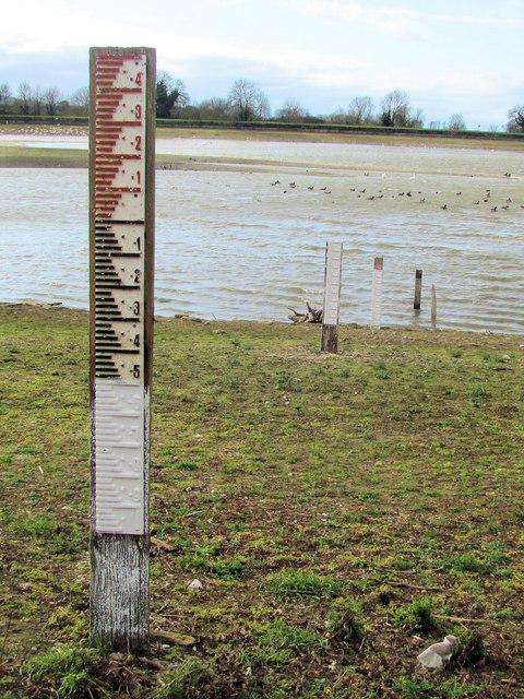 Depth Gauges exposed by low water in Startops Reservoir