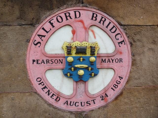 Plaque on Salford Bridge
