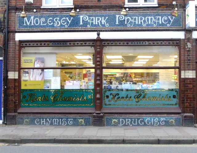 Kent's the Chemists, East Molesey: shop front with mosaics
