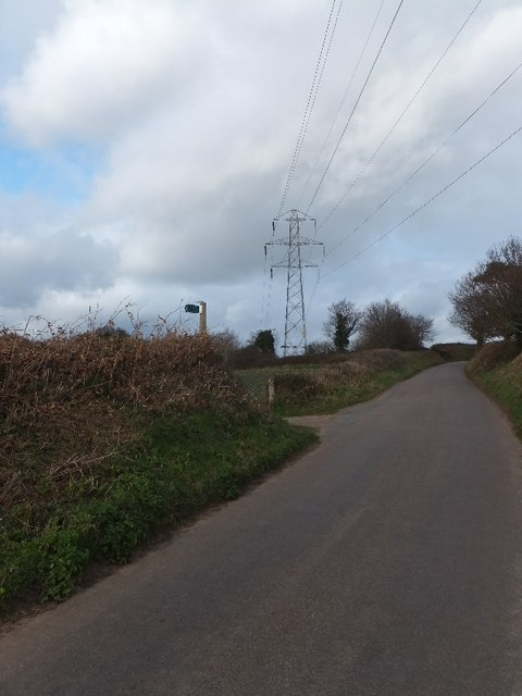 Mamhead Road, with footpath and pylon