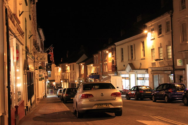 Broad Street in Ross-on-Wye on a January night