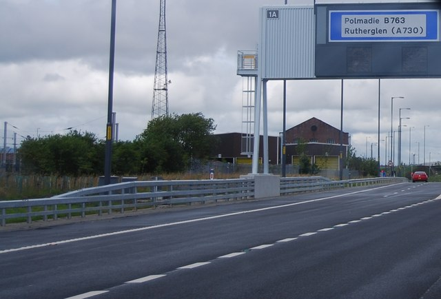 Slip road, Junction 1a, M74