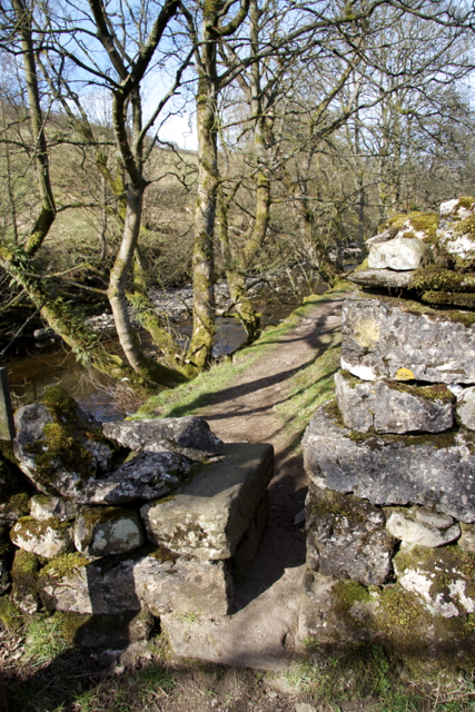 Pinch Stile alongside the River Wharfe near Yockenthwaite Langstroth Dale