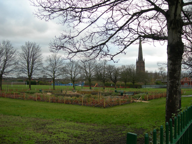 St Elphins Park and Church in the background