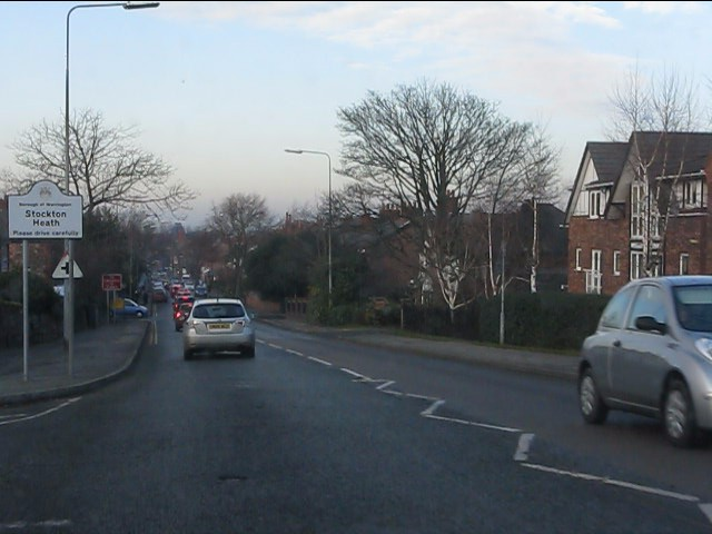 London Road (A49) enters Stockton Heath