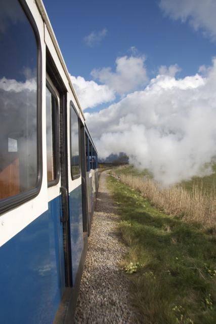 Ravenglass Railway Train En Route to Muncaster Mill Halt