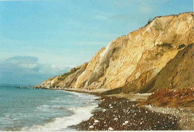 The cliffs at Alum Bay in 1988