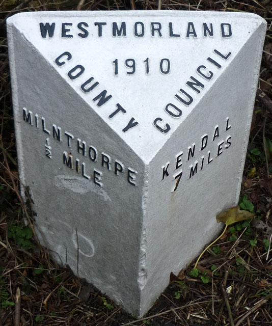Milestone north of Milnthorpe