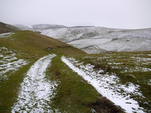 Track descending ridge north of Trows