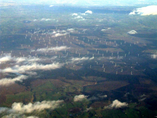 Whitelee wind farm from the air