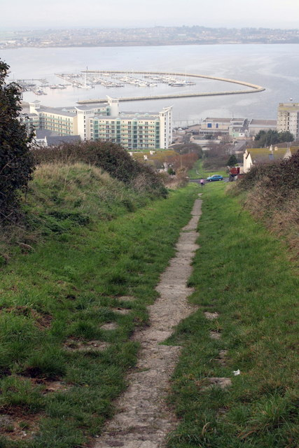 View down incline towards Portland Harbour