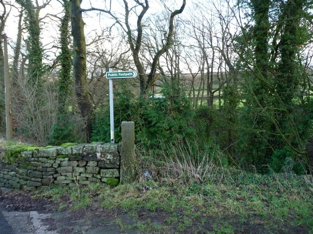 Footpath sign at Whitley Head