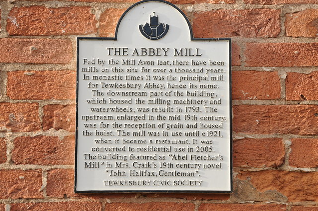 Plaque on Abbey Mill