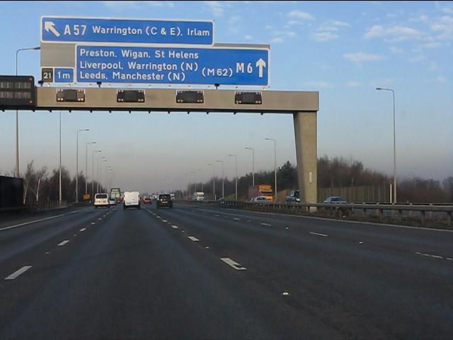 M6 motorway - 1 mile to junction 21, northbound