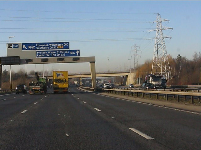 M6 motorway crossed by power lines