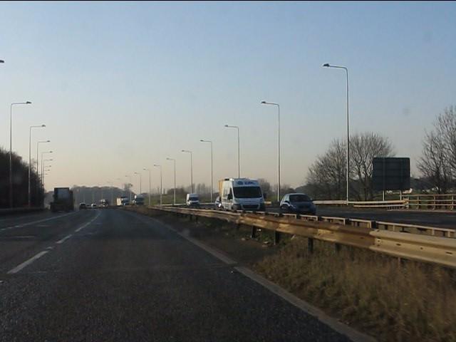 M62 crosses Foxs Bank Lane