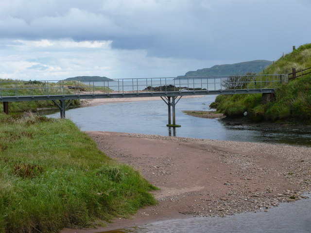 Bridge across Conieglen Water with Sanda and Sheep Island behind