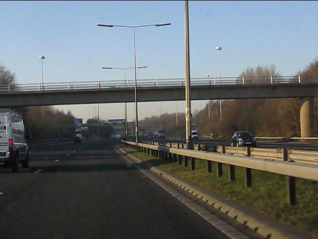 M62 motorway at Bowring Park footbridge
