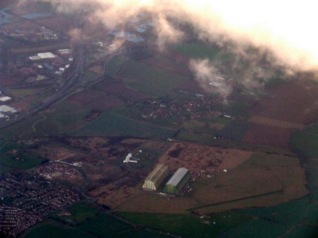 Cardington airship hangars from the air