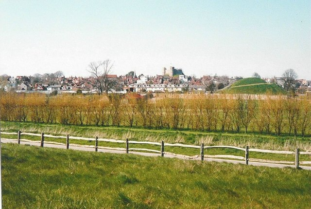 Lewes from a lay-by on the A27 in 1988