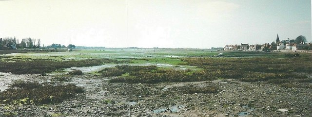 Low tide panorama of Bosham in 1988
