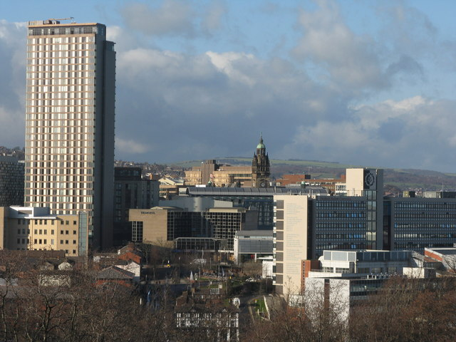 The centre of Sheffield