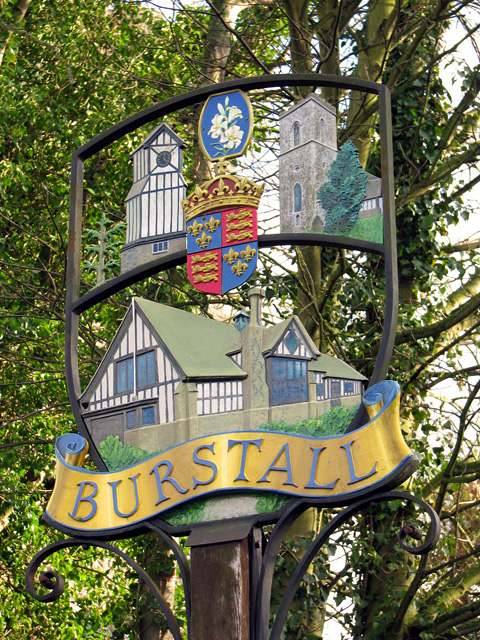 The village sign in Burstall