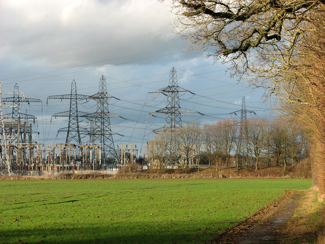 Tall pylons by electricity substation west of Bullen Wood, Burstall