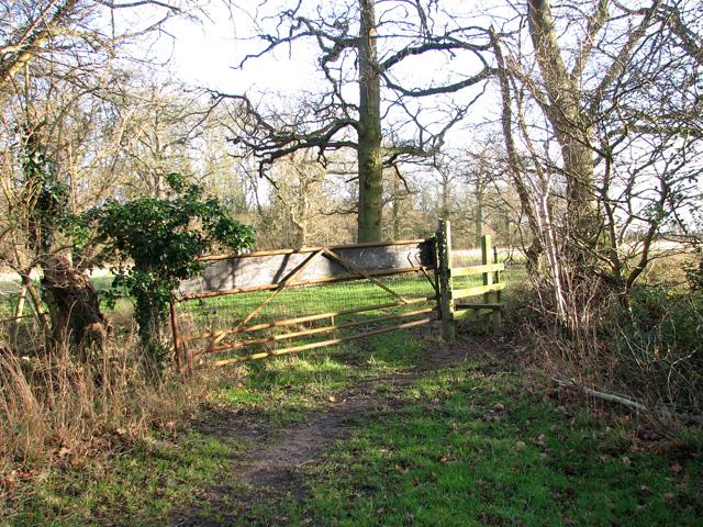 Stile on disused footpath past Round Wood, Burstall
