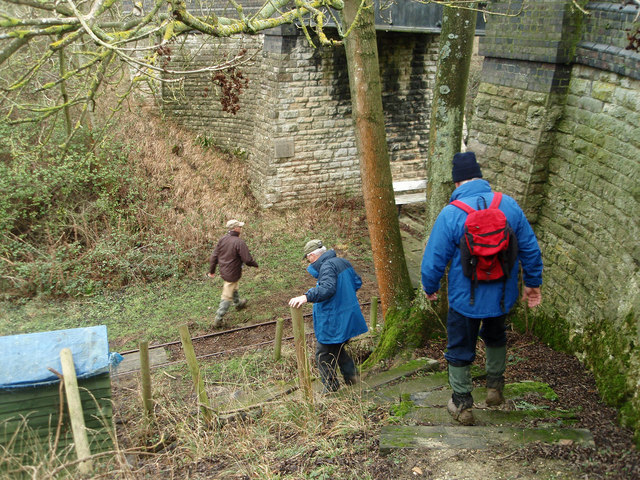 Descending on to the old railway track bed