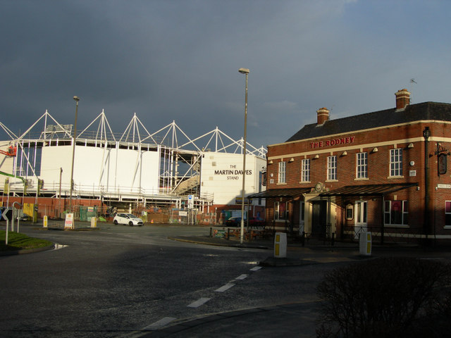 Warrington Wolves ground and The Rodney pub