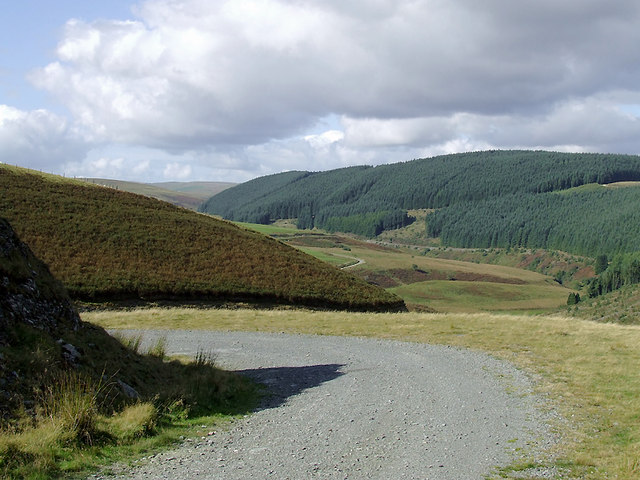 Forestry road and Camddwr Valley in Ceredigion