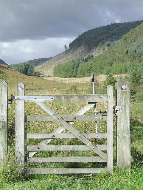 Bridleway gate and Cwm Tywi, Ceredigion