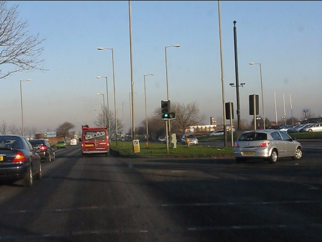 A580 at the turning for West Derby retail park